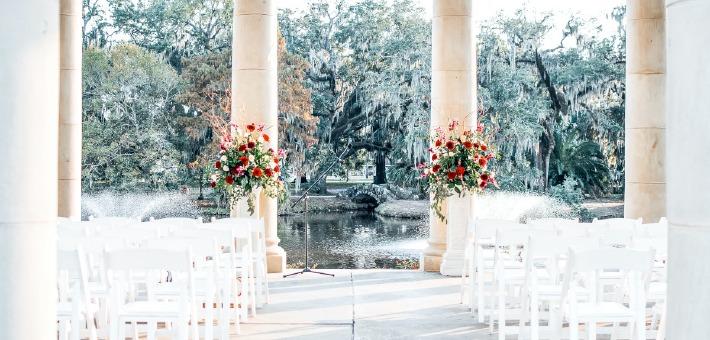 Photo d'une cérémonie de mariage photographiée dans un beau lieu de réception en France.