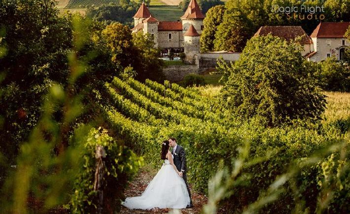 couple photographié lors d'un mariage avec en fond un château réservé pour leur mariage