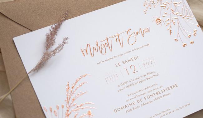 Faire Part de mariage avec des motifs floraux et champêtres