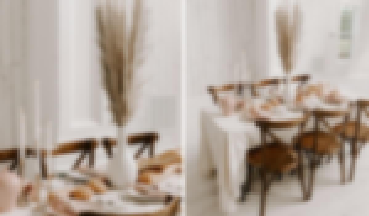 Centre de table d'un mariage réalisé avec des fleurs séchées de la pampa