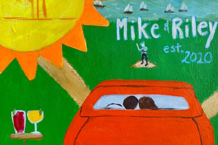 Peinture réalisée par Angeline Martinez pour illustrer le mariage de Mike et Riley en Auvergne