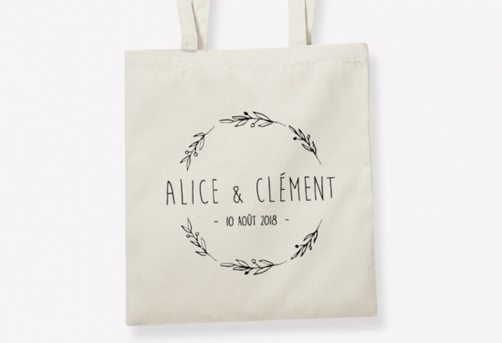 Sac en coton personnalisable pour un mariage de chez Tote the Bag