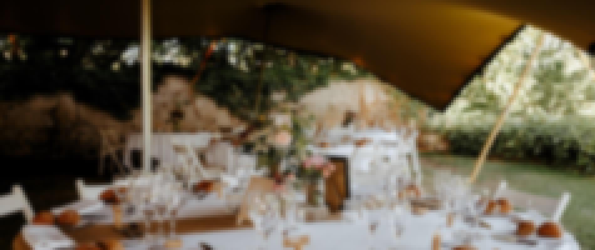 Photo d'un repas de mariage organisé en extérieur sous une tente nomade au château de Bois Rigaud dans le Puy-de-Dôme