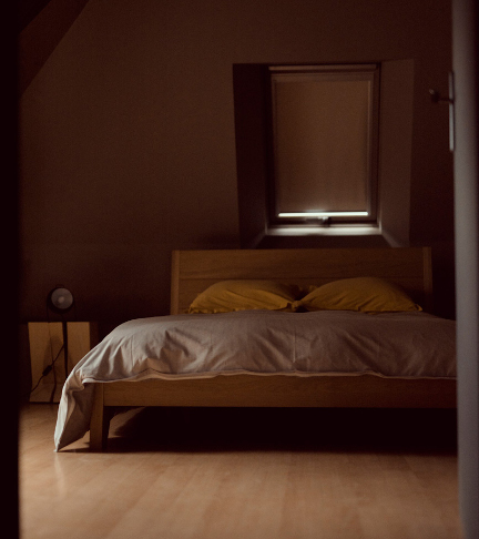 Double bedroom at chateau de Bois Rigaud