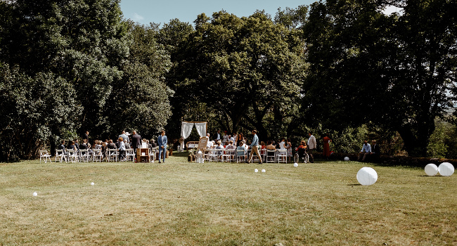 Outdoor wedding ceremony in the south of France