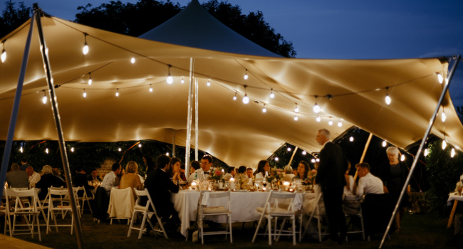 Wedding marquee of Chateau de Bois Rigaud in France.