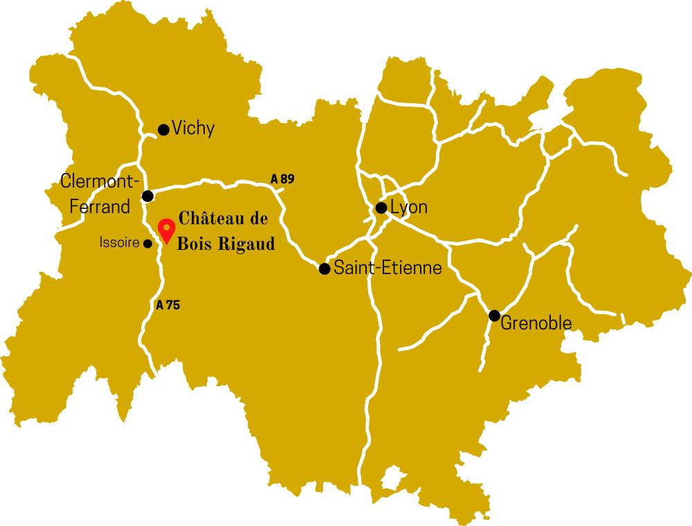 Carte de la région Auvergne-Rhône-Alpes avec indication de la proximité du Château de Bois Rigaud