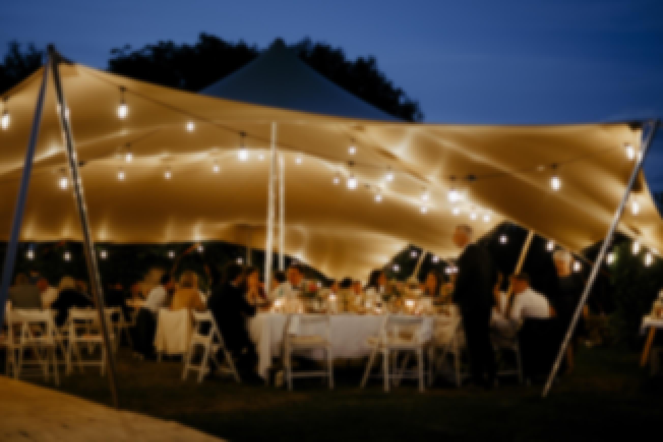 Photo prise dans les jardins du Domaine de mariage de Bois Rigaud dans le Puy-de-Dôme à la nuit tombée